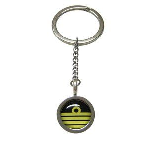 Bordered Round Nautical Captain Rank Keychain